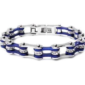 Jewelry - Bike Chain Rhinestone Bracelet Blue & Silver
