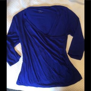 Tops - Faux wrap top in royal blue