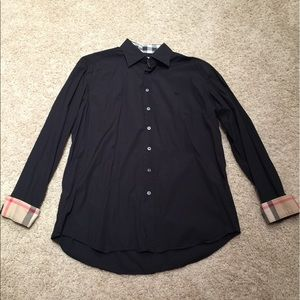 Men's Burberry Button Down Shirt Black XL