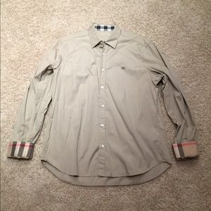 Men's Burberry Button Down Shirt Tan/Beige XL