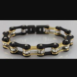 Jewelry - Bike Chain Rhinestone Bracelet Black & Gold