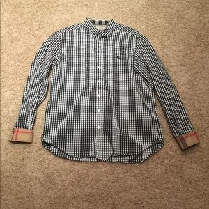 Men's Burberry Button Down Shirt Navy/White XL