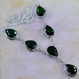Jewelry - Green Quartz pear statement necklace silver 925