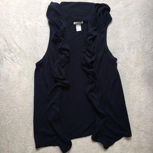 Coldwater Creek Sweaters - Navy blue waterfall sleeveless cardigan