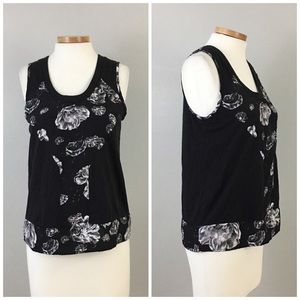 Prabal Gurung for Target Tops - Prabal Gurung Black Floral Sleeveless Blouse