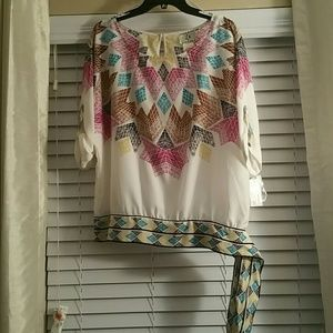 Ice Tops - NWT Colorful geometric design side-tie top