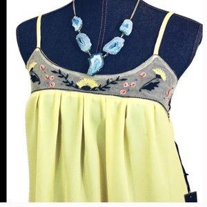 Love Stitch Tops - NEW LOVE STITCH Small Yellow Boho Tank Top Tunic