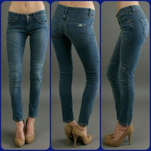 James Jeans Denim - James Jeans Moto Skinny Seamed Jeans LAGUNA
