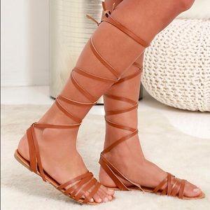 Lulu's Leg Wrap Sandals - 7.5