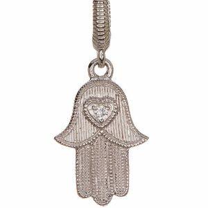 Judith Ripka Hamsa Heart Charm Necklace NWT