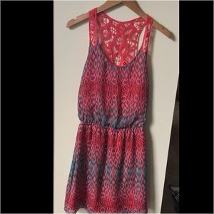 Express Coral and Gray Dress