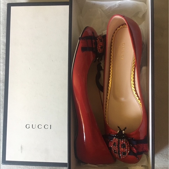 02dcd52e7c1 PRICE REDUCED  GUCCI Lexi Ladybug Flats in Red