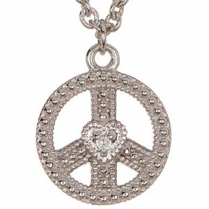 Judith Ripka Sterling Silver Peace Sign Necklace