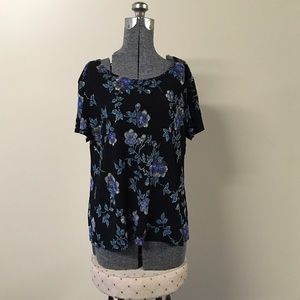 Notations Tops - Black & Blue Floral Print Top XL