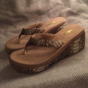 Volatile Shoes - Volatile Snakeskin wedge flip-flops (NWOT)