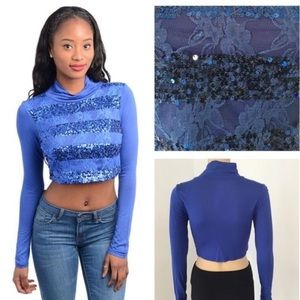 Tops - NEW blue lace sequin crop top