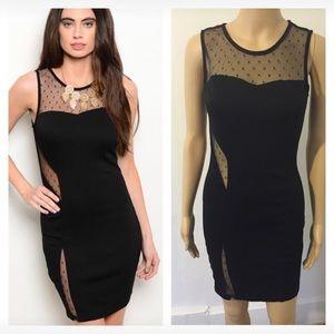 Dresses & Skirts - NWT black mesh insert dress