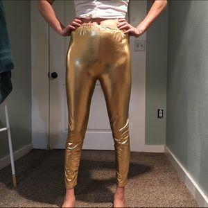 Pants - Metallic gold leggings