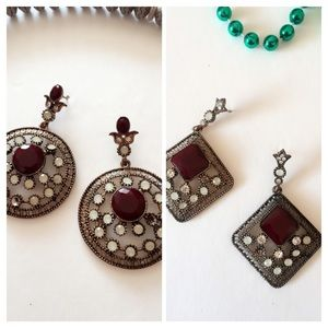 B9 Pierce Back Burgundy Antique style Earrings