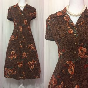 Vintage 60's or 70's Brown Polyester Dress