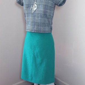 J. Crew Factory Green Wool Pencil Skirt
