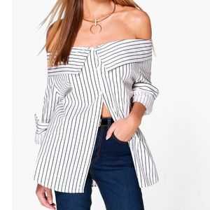Tops - Striped Bardot Off the Shoulder Top