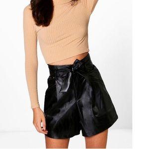 Pants - Tall Vegan Leather Tie Waist Shorts