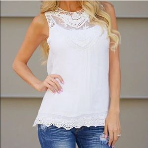 Lalea Tops - White Lace Tank Tunic, Perfect for Summer
