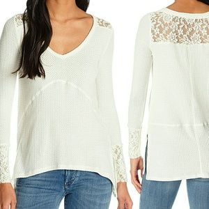 Wallflower Tops - High-Low Thermal w/ Lace Back & Cuffs NWT