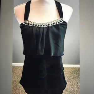 WHBM Black Halter Style Top Size 4 Chain Detail