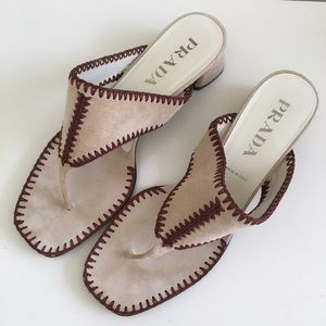 Prada Shoes - Prada Suede Sandals Chunky Heels Beige Size 9.5
