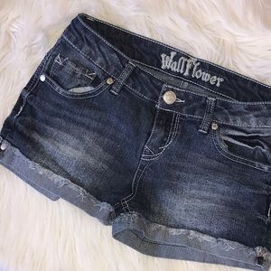 Wallflower Pants - Wallflower Indigo Wash Cut Off Denim Jean Shorts