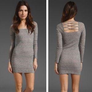 FP gray and tan crisscross long sleeved mini dress