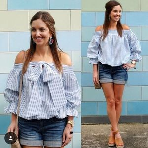 Striped off shoulder top with bowknot
