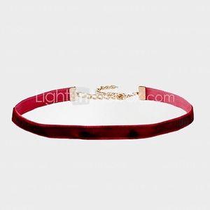Thin red velvet choker with gold hardware