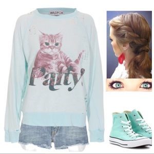 Party Cat Destroyed Jumper [mint jelly]