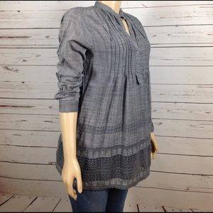 Max & Co. Tops - Light Grey chambray crochet cotton shirt size M