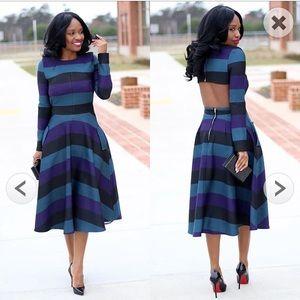 chicwish Dresses & Skirts - Chicwish Demure Green Striped Open Back Dress L