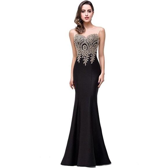 Dresses Black And Lace Gold Prom Dress Poshmark