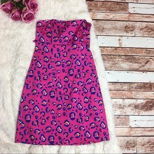 KS Selection Dresses & Skirts - Kaeli Smith Strapless Tie Back Pink Leopard Dress