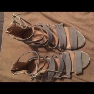 Blue sandals. Jean material 8.5 wedges