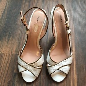 FIONI Clothing Shoes - Barely used, white and brown peep toe heels