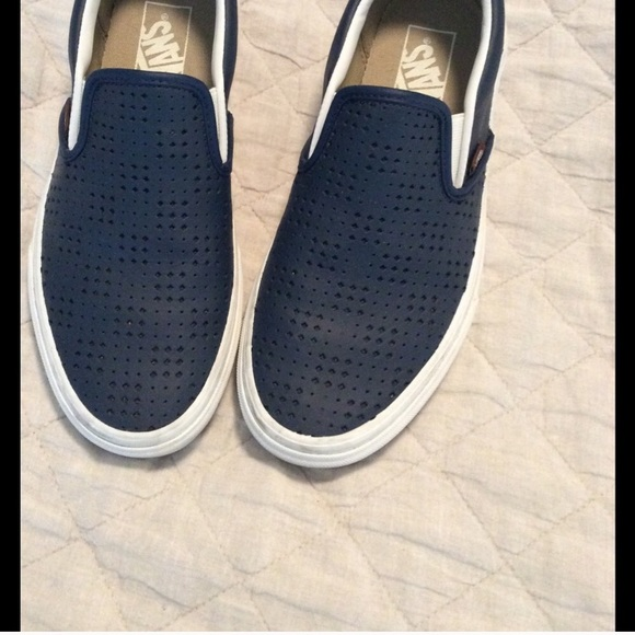 110b30da98f Vans Navy perforated leather slip ons. M 58f4da9cbf6df5f7700079c7