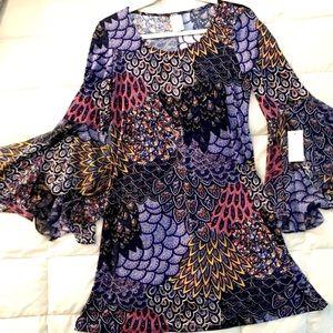 Chic Bell Sleeve Shift Dress! sz M by MSK