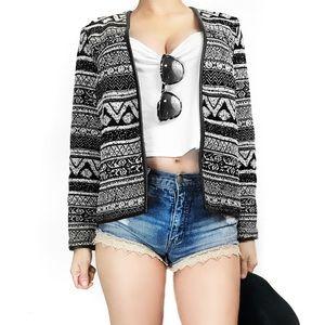 H&m tribal print knit jacket