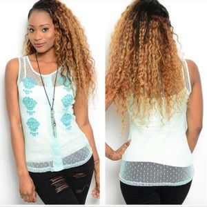 Tops - NIP mint sheer lace top