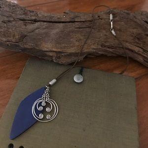 Sara Sara Jewelry - Bohemian boho silver blue geo necklace stretchable