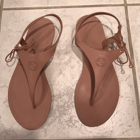 6f881f9c8 Gucci Shoes | Katina Jelly Gg Sandals In Nude Size 37 | Poshmark