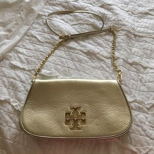 NWT Tory Burch Britten Clutch Gold