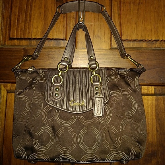 Coach Ashley Gathered Dotted Op Art Brown Satchel